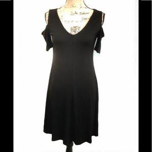 WHBM DRESS Black S/S Cold Shoulder A LIne Sz XS